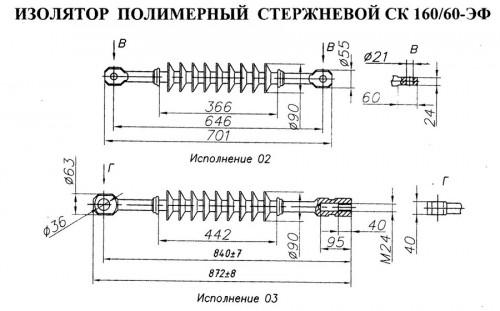 Изолятор полимерный стержневой СК 160/60-ЭФ